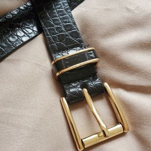 H&M Crocodile Print Gold Buckle Belt